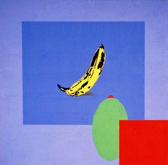 painting Banana on a Blue Square